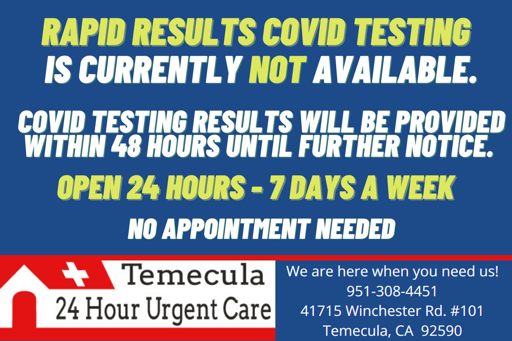 Covid Testing Temecula 24 Hour Urgent Care